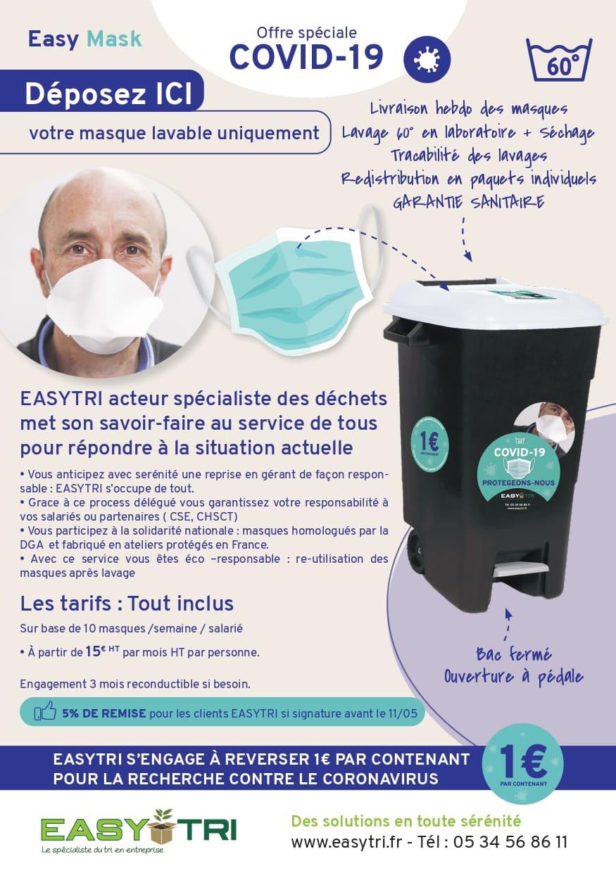 Offre Easy-Mask : guide recyclage des masques lavables en entreprise par Easytri à Toulouse