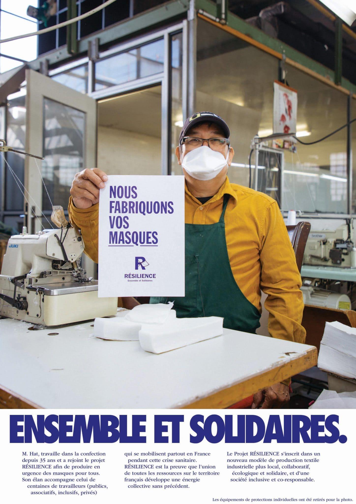 Résilience, entreprise de masques lavables en France, partenaire de Easytri à Toulouse