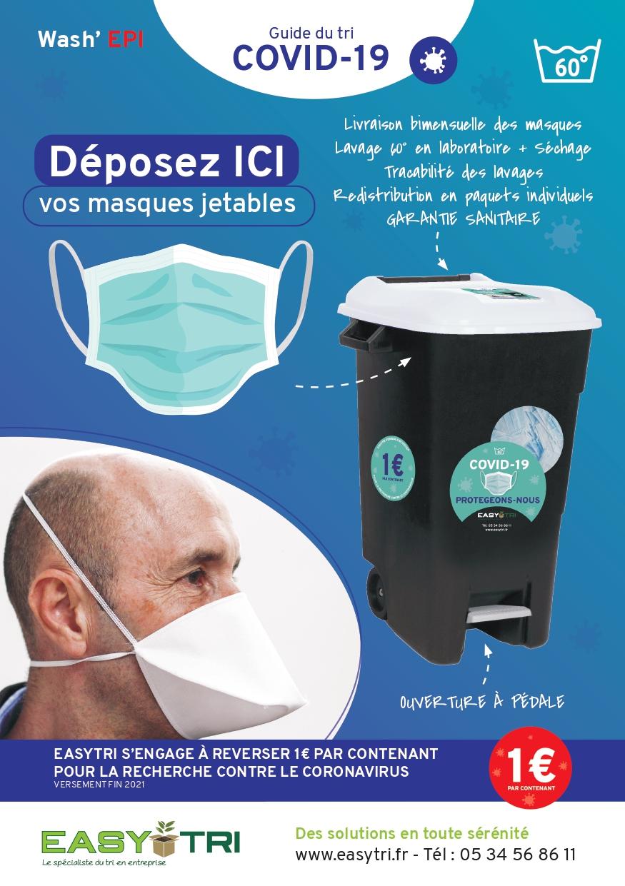Prestation Wash'EPI : protocole sanitaire de gestion des masques jetables à Toulouse pour les entreprises