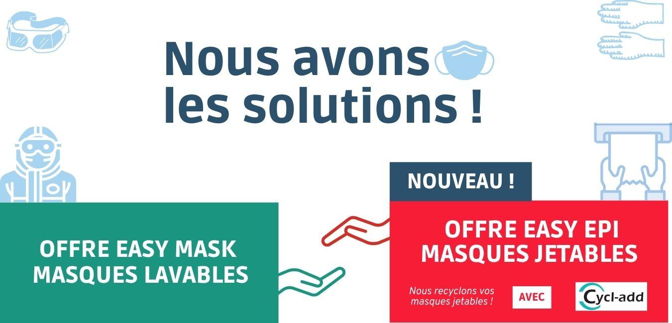 Nous avons la solution pour vos masques lavables et jetables ! Nouveau : nous recyclons vos masques jetables !