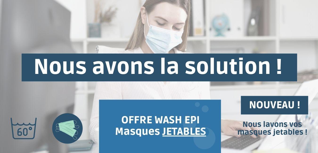 Nous avons la solution pour vos masques jetables ! Nous lavons vos masques jetables.