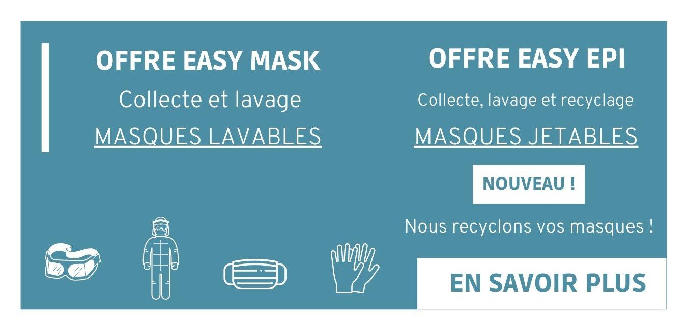 Offre Easy EPI et Easy mask - nous lavons vos masques lavables et nous recyclons vos masques jetables