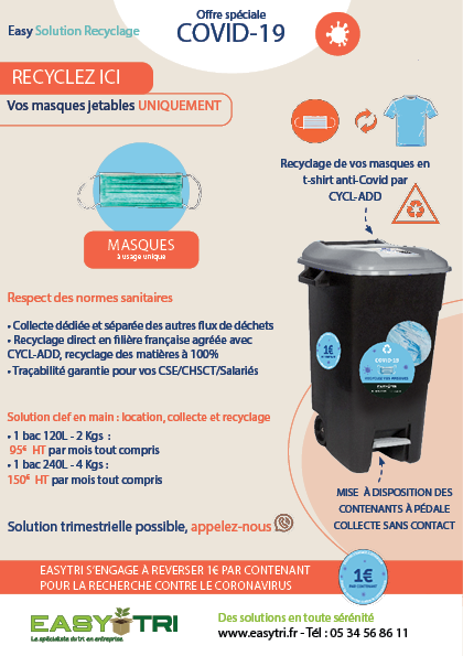 Offre easy solution recyclage des masques jetables